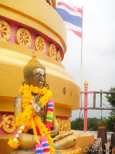 Thailand Flag and Buddha Tiger Cave Temple