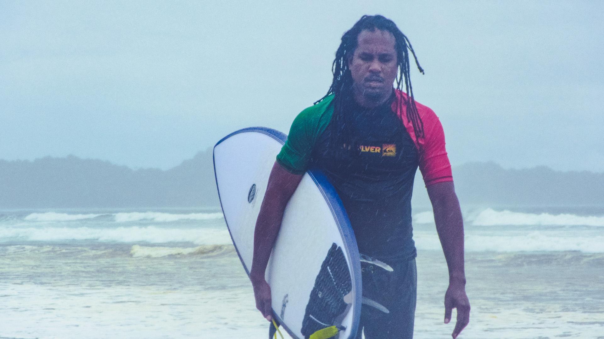 Playa Guiones Choppy Surf Overcast Rainy Season